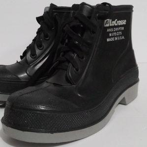 LaCrosse Mens Industrial Black Rubber Rain Boots 8